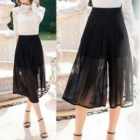 大きいサイズ レディース パンツ サマー 夏 涼しい ガウチョパンツ ワイドパンツ スカンツ スカーチョ シフォン ロングスカート見え きれいめ 大人 大人かわいい pants LL 3L 4L 5L 11号 13号 15号 17号 黒 ブラック