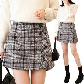 【ネコポス可 メール便可】 ミニスカート 膝上 スカート チェック グレンチェック モノトーン 秋冬 ミニ スカート 台形 巻きスカート ラップスカート タイトスカート Aラインスカート ブラック 黒 大きいサイズ レディース [L/LL/3L/4L] SKIRT skirt 制服