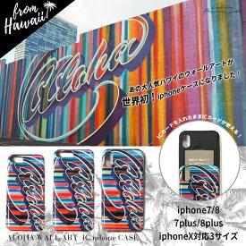 ハワイ有名フォトジェニックスポット「カカアコ」の人気ウォールアートが世界初のグッズになりました!《3サイズ対応》《IC収納タイプ》Aloha ICカード収納iphoneケース ハワイ アート ラレイア laleia ビーチ サーフ フォトジェニック ICカード 収納