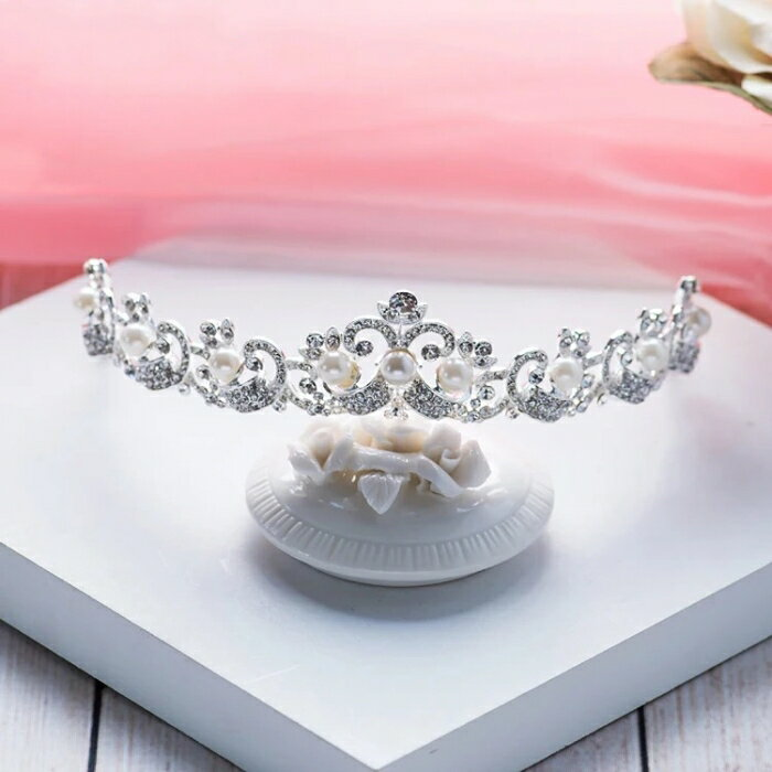 二次会 パーティー ウェデイング ブライダル ティアラ ヘッドドレス 結婚式 真珠ティアラ 大粒真珠 パールティアラ【大人気】