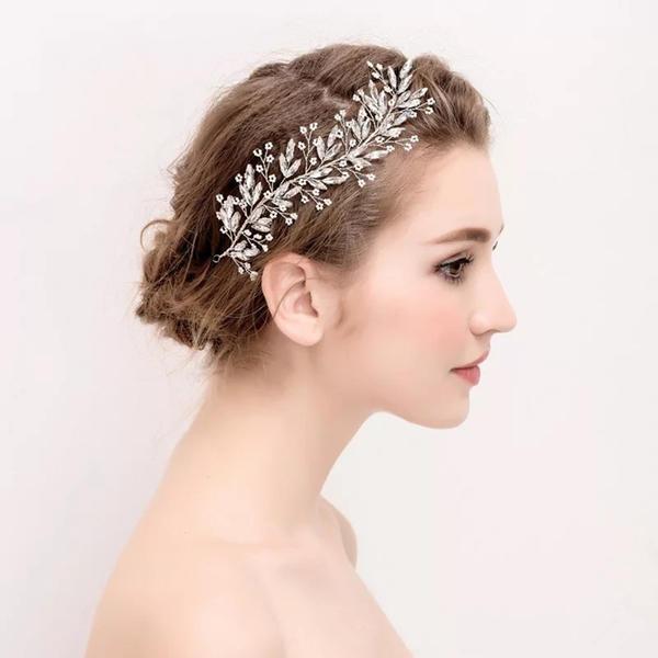 二次会 パーティー ウェデイング ブライダル 結婚式 ドレスも和服にもよく似合うウェディング髪飾り ヘッドドレス 髪飾り 舞台/演出/撮影 チェッコクリスタルヘッドドレス