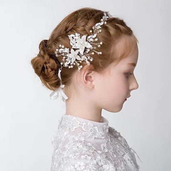 ヘッドドレス ウェデイング ブライダル 結婚式 パーティー 二次会 和服にもよく似合うウェディング髪飾り パールヘッドドレス 髪飾り 子供 花嫁髪飾り 写真/撮影/舞台 ゴールド/シルバー ヘッドドレス