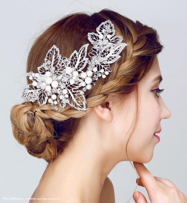 【人気商品】ウェデイング ブライダル 結婚式 二次会 パーティー ドレスも和服にもよく似合うウェディング髪飾り ヘッドドレス 真珠 パールキラキラリーフ 花の華やかゴージャスヘアアクセサリー ヘアピンタイプ