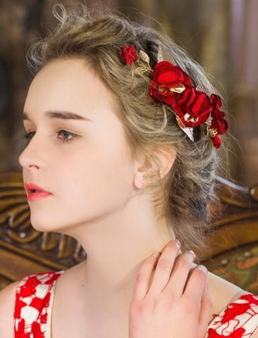 二次会 パーティー ウェデイング ブライダル 結婚式 ドレスも和服にもよく似合うウェディング髪飾り ヘアピン付き造花ヘッドドレス ゴールドリーフとワインレッド布花 舞台 ティアラ 髪飾り ヘアアクセサリー