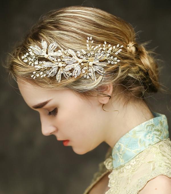二次会 パーティー ウェデイング ブライダル 結婚式 ドレスも和服にもよく似合うウェディング髪飾り ヘッドドレス 真珠 パール ゴールドリーフ 花の髪飾り ヘアピン