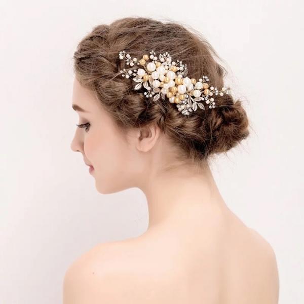 二次会 パーティー ウェデイング ブライダル 結婚式 ドレスも和服にもよく似合うウェディング髪飾り ヘッドドレス 髪飾り 舞台/演出/撮影 ゴージャスゴールドパールヘッドドレス ヘッドピン