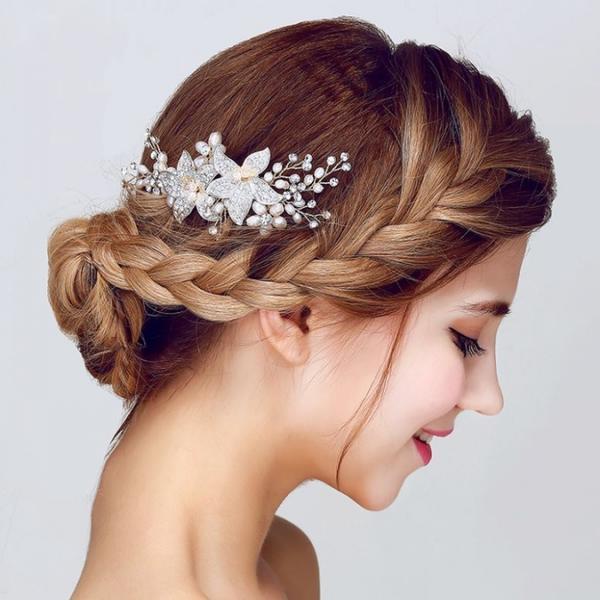 二次会 パーティー ウェデイング ブライダル 結婚式 ドレスも和服にもよく似合うウェディング髪飾り ユリヘッドドレス 百合の花髪飾り ゆりのコーム付きヘッドドレス