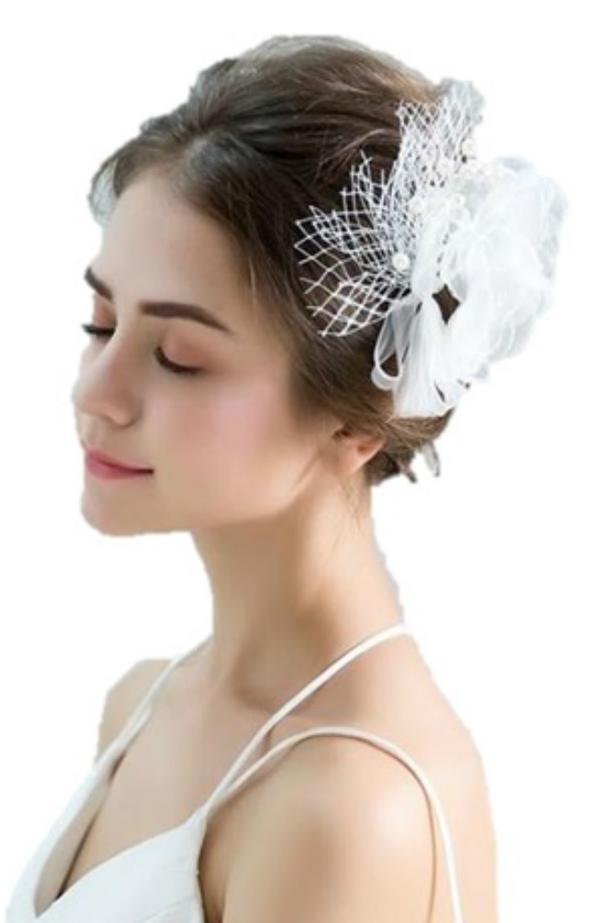 結婚式 ウェデイング ブライダルティアラ 二次会 パーティーティアラ 舞台演出 コーラス ヘッドドレス 成人式ヘッドドレス ティアラ 布造花ヘッドドレス 白いバラ花ヘッドドレス