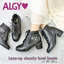 ALGY アルジー レースアップ チャンキー ヒール ブーツ 厚底 ショート シューズ 靴 レディース ローヒール 小さいサイ…