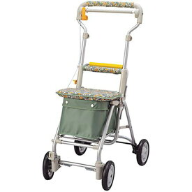 象印ベビー 歩行補助車[シルバーカー] スリムシリーズ ヘルスバッグ ライトミニ 花柄グリーン