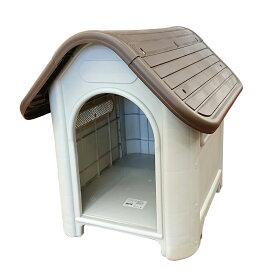 当社オリジナル 屋内外対応 プラスチック製犬小屋 アイボリーXブラウン