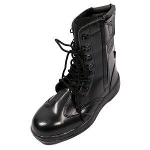 ジプロア 半長靴 ファスナー付き 24.5cm ブラック JASS A種 ワークブーツ 長編み 編み上げ HZ-703