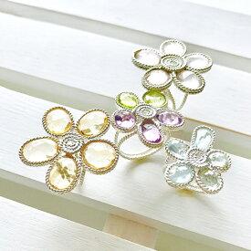 daisy 天然石リング 指輪 シルバーリング お花 花びら 大人かわいいリング 春 デート パーティ