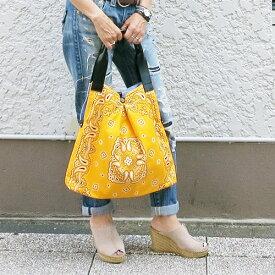 ラチチュードモモ バンダナバッグ レディースバッグ ショルダーバッグ エディターズバッグ A4サイズ 軽量バッグ バンダナ 仕事 ワーキング 大容量 カジュアル ペイズリー柄 ボヘミアン ナチュラルスタイル マザーズバッグ