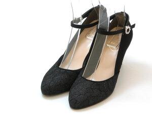 ≪20% OFF SALE≫JELLY BEANS ジェリービーンズLe Chione ビジュー バックルストラップパンプス(ブラック)レディース シューズ 靴セール品につき返品・交換・キャンセル不可