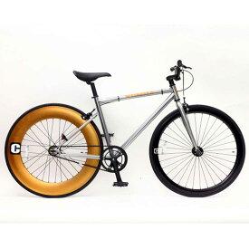 ピスト 700C シングルスピード ディープリム クロスバイク ロードバイク おしゃれ 自転車 通勤 通学 CREATE C-100 シルバー メンズ レディース