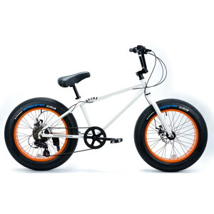 ブロンクス ファットバイク レインボー ビーチクルーザー 20インチ 極太タイヤ 7段変速 おしゃれ 自転車 通勤 通学 メンズ レディース 20BRONX-DD グロスホワイト×オレンジリム