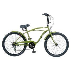 レインボー ビーチクルーザー 24インチ おしゃれ 自転車 通勤 通学 6段変速付 メンズ レディース ジュニア 24KB-6SPEED マットカーキー