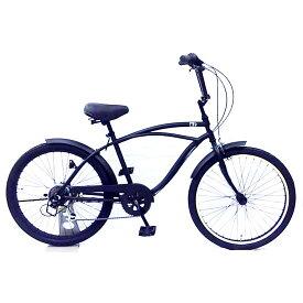 レインボー ビーチクルーザー 24インチ おしゃれ 自転車 通勤 通学 6段変速付 メンズ レディース ジュニア 24KB-6SPEED マットブラック