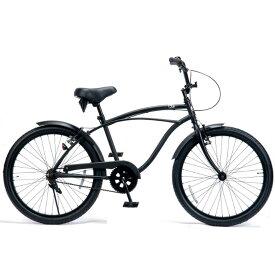 レインボー ビーチクルーザー 24インチ おしゃれ 自転車 通勤 通学 メンズ レディース ジュニア 24KB-1SPEED マットブラック