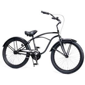 レインボー ビーチクルーザー 24インチ おしゃれ 自転車 通勤 通学 メンズ レディース 24TOWN ダースベーダー