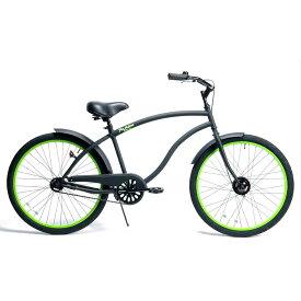 自転車 RAINBOW TYPE-X 26CRUISER MatteBlack×GreenRim レインボー ビーチクルーザー 26インチ おしゃれ 通勤 通学 メンズ レディース
