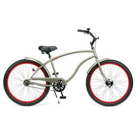 レインボー ビーチクルーザー 26インチ おしゃれ 自転車 通勤 通学 メンズ レディース 26TYPE-X マットグレー×レッドリム