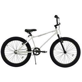"""自転車 T-STREET 24""""SEMI-FAT BMX グロスホワイト レインボー 24インチ セミファットタイヤ おしゃれ 通勤 通学 メンズ レディース"""