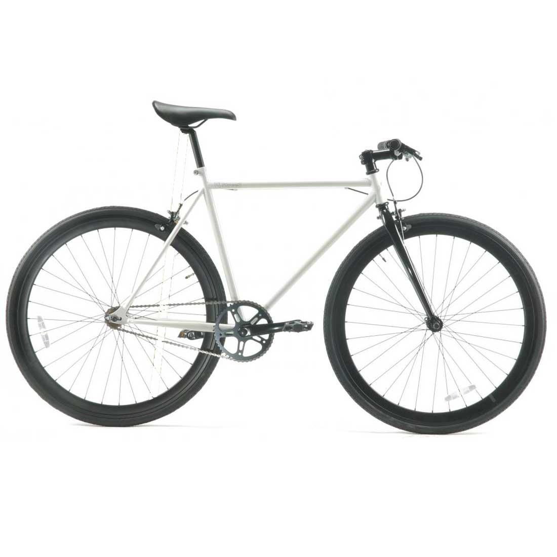 ピストバイク 700C ロードバイク シングルスピード おしゃれ 自転車 通勤 通学 レインボー T-STREET グロスホワイト メンズ レディース