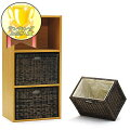 アジアン家具アジアン雑貨カラーボックスにピッタリ収納できるラタンバスケット籐製ナチュラル3個セット