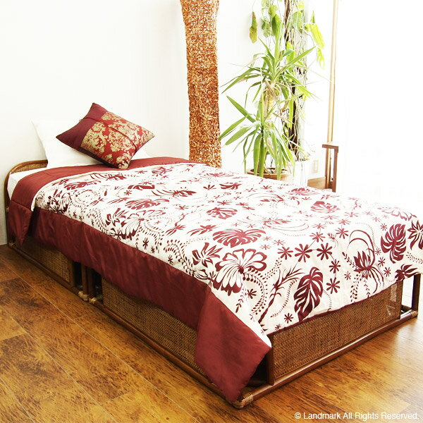 【ポイント10倍】アジアン 家具 ベッド フレーム シングル マットレスなし 籐 ベッド 籐製 すのこ ラタン リゾート エスニック シングルベッド B400HR CT17