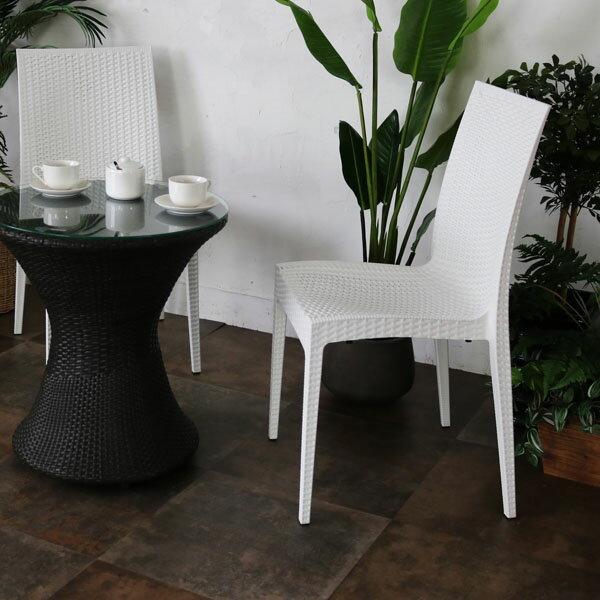 ガーデンチェア 屋外 スタッキング 1脚 アウトドア バーベキュー キャンプ ガーデン 庭 テラス 白 ホワイト ダイニングチェア 椅子 パーソナルチェア 北欧 西海岸 籐ラタン風 アジアン おしゃれ C1601PWH 2019
