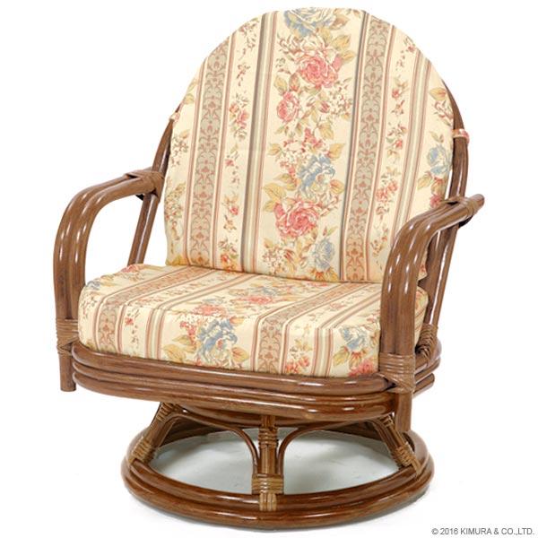 【あす楽】籐回転椅子 C711HRJS ミドルタイプ 籐回転チェア 回転イス 座椅子 回転 ローチェア 和 和風 アジアン 座椅子 ラタン 籐 CT17