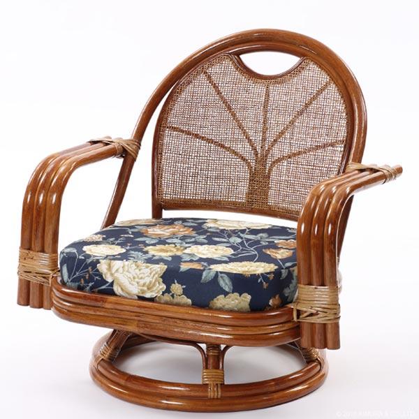 【あす楽】籐回転椅子 ミドルタイプ C821HRA1 背クッション無し 籐回転チェア 回転イス 座椅子 回転 ローチェア 和 和風 アジアン 座椅子 ラタン 籐 CT14 CT17