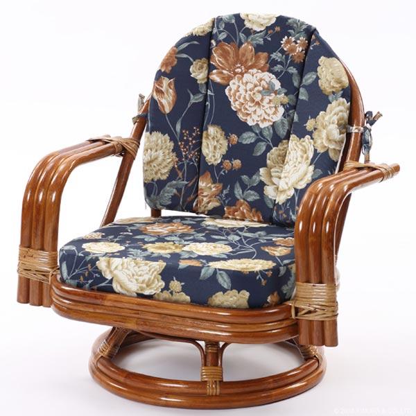 【あす楽】籐回転椅子 ミドルタイプ C821HRAS 背クッション付き 籐回転チェア 回転イス 座椅子 回転 ローチェア 和 和風 アジアン 座椅子 ラタン 籐 CT14 CT17