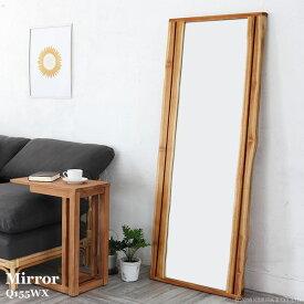 ミラー 鏡 大型 全身 姿見 ウォールミラー スタンドミラー 壁掛け チーク 無垢 木製 おしゃれ 北欧 ナチュラル カントリー リゾート カフェ 大判 Q155WX