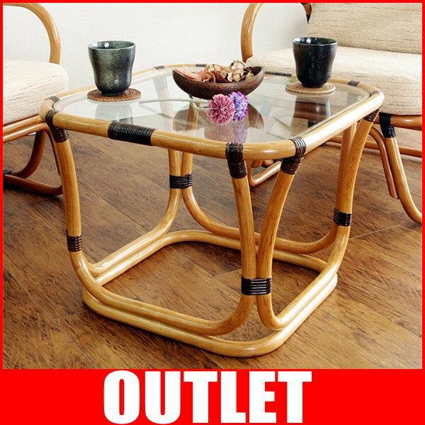 アジアン家具 テーブル カフェテーブル サイドテーブル コーナーテーブル 机 ガラステーブル おしゃれ ラタン 籐 木製 和風 アジアン ガラス 木製 T200CB CT17