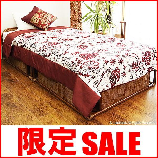 アジアン 家具 ベッド フレーム シングル マットレスなし 籐 ベッド 籐製 すのこ ラタン リゾート エスニック シングルベッド B400HR CT17