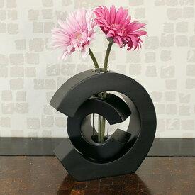 【あす楽】木製 花瓶 ウッド フラワーベース 一輪挿し バリ アジアン置物 ( クレセントタイプ ) カフェ雑貨 花器 シリンダー ガラス z050302b