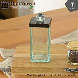 【あす楽】アジアン雑貨 チークのフタ付ガラスケース【クリア/ブラック/Tサイズ】 アンティーク調ガラスキャニスター コットンケース 小物入れ アメニティグッズz220203a Bali Direct