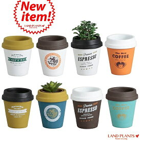 【8カラー】 コーヒーカップ型 陶器鉢 Mサイズ チルドカップ3号・4号・植木鉢・底穴あり・フラワーポット 白・黒・青・オレンジ・ミント・ネイビー・グリーン