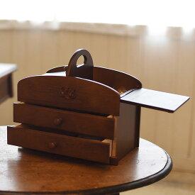 クーポン発行中 日本製 ソーイングボックス 裁縫箱 大容量 持ち運び ハンドル 取っ手 引き出し 木製 ブラウン 茶色 ダークブラウン こげ茶 レディース20-301