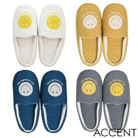 ACCENT(アクセント) NICO ルームシューズ(フリーサイズ) T28847 アイボリー/イエロー/ネイビー/グレー nico/ニコ/スマイル/smile/スマイリーフェイス/フロッキープリント