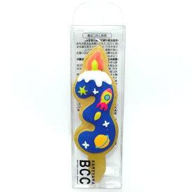 3番 クッキーナンバーキャンドル ロケット 3歳 誕生日 アイシングクッキー カメヤマキャンドルハウス メール便