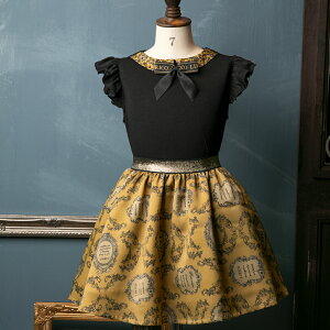 キッズウエアリボン付きフリルノースリーブ&ラベル柄スカート110サイズ120サイズフォーマルデイリー