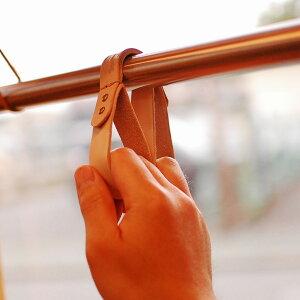 つり革 タッチレスグッズ 本革 アシストストラップ 父の日 プレゼント 電車 バス ヌメ革【名入れ】|ドアノブ フック ボタン コロナ対策 日本製