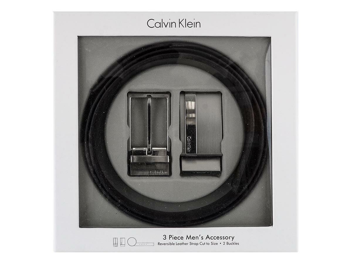 Calvin Klein カルバンクライン レザーベルト 2974310 REVERIBLE BELT 3PIECE BELT SET メンズ リバーシブル BLACK/BROWN ブラック×ブラウン サイズ42 【送料無料 並行輸入品】