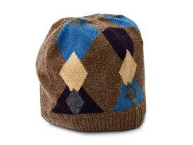 D&G JUNIOR Jr ディー&ジー ジュニア ニット帽 帽子 LB2071 OL808 M0887 アーガイル柄 ブラウン S Mサイズ ジュニアサイズ 子供用 カシミヤ