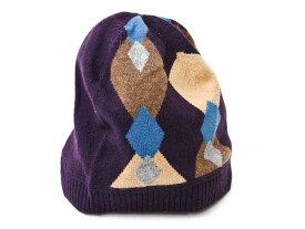 D&G JUNIOR Jr ディー&ジー ジュニア ニット帽 帽子 LJ2071 OL808 B0032 アーガイル柄 オアープル L XLサイズ ジュニアサイズ 子供用 カシミヤ 女性使用可能