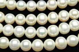 【連売り】高品質 淡水真珠パール セミラウンド〜ポテト型 ホワイト 9〜10mm 1連(約35cm)天然石 パワーストーン ビーズ パーツ _R1917-9